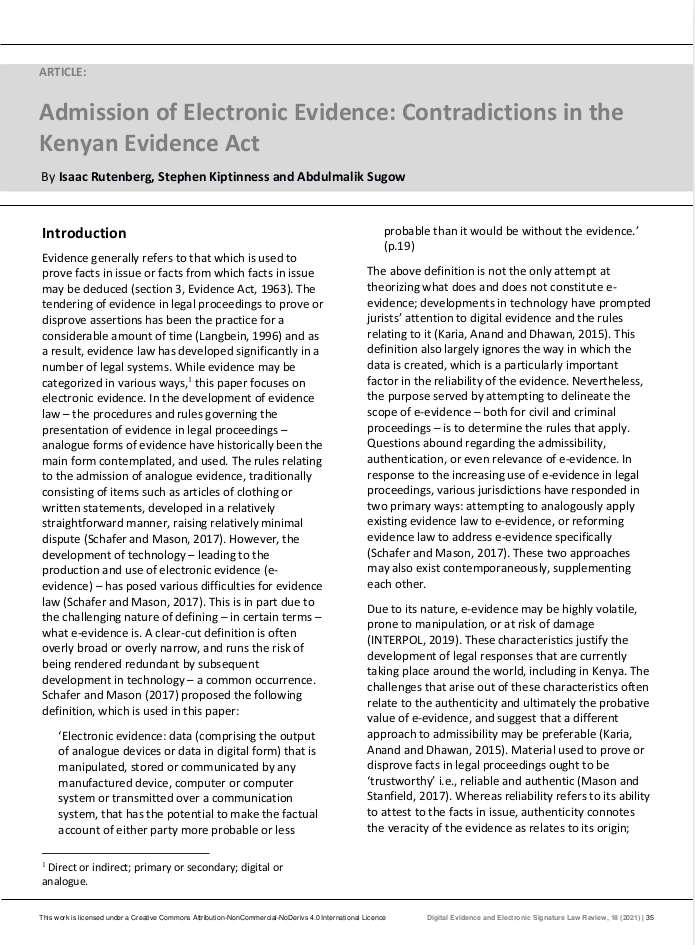 Admission of Electronic Evidence: Contradictions in the Kenyan Evidence Act