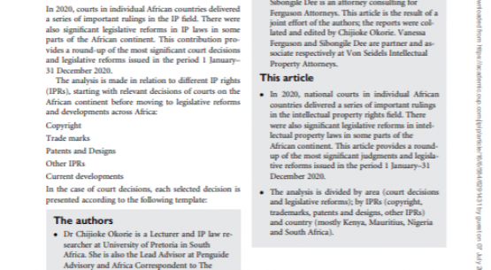 Africa intellectual property decisions and legislative reforms round-up 2020